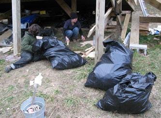 Bagging up the scraps