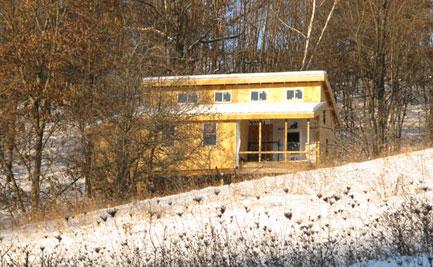 Cabin survives first blizzard